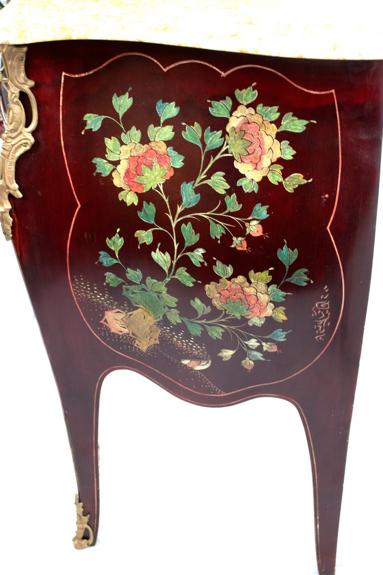 A Louis XV Style Vernis-Martin Lacquer Japonisme Commode with Marble Top