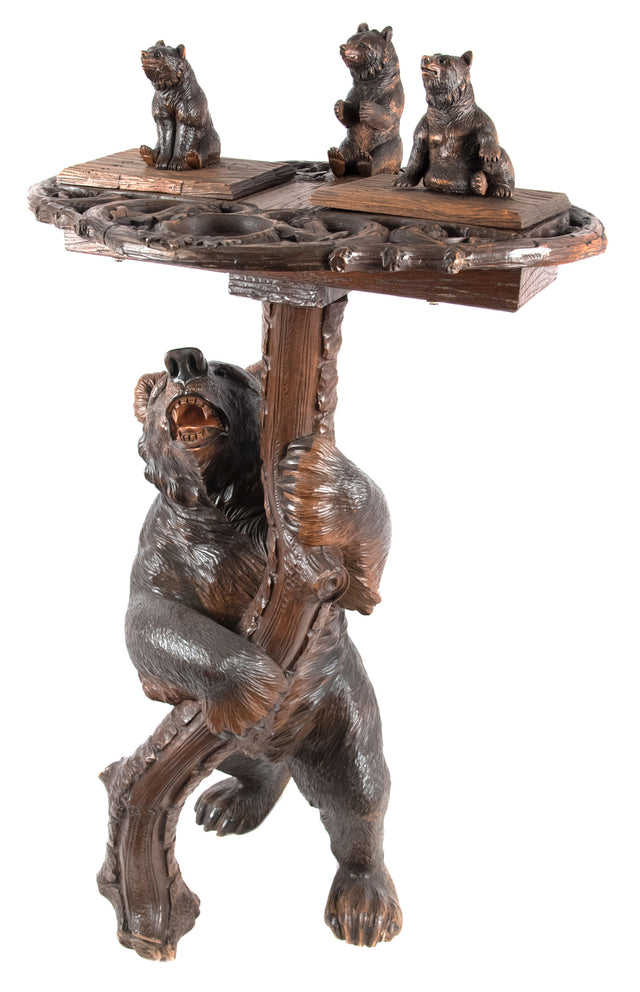 Black Forest Carved Figural Bear Smoking Stand
