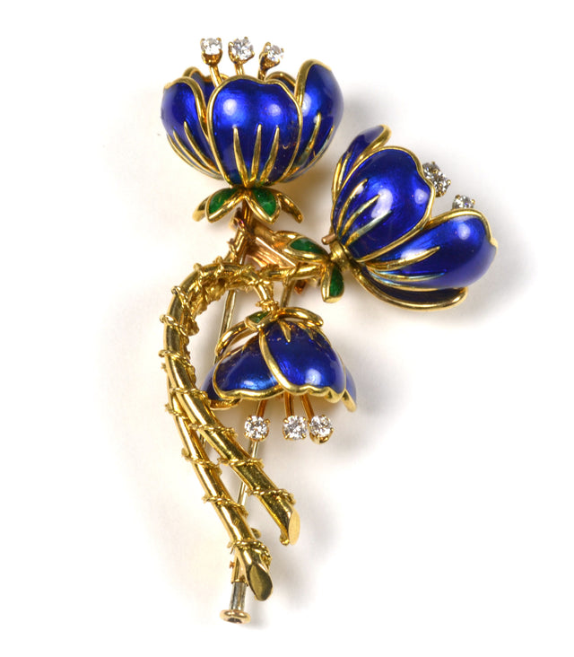 18 karat yellow gold diamond enameled floral pin