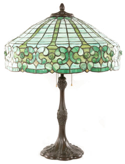 Victorian Tiffany-style Stained Glass and Bronze Table Lamp
