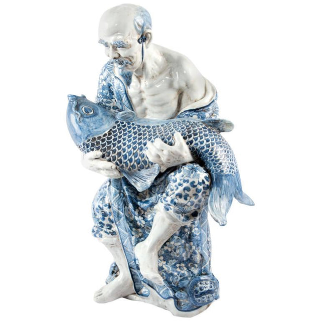 Chinese Blue and White Porcelain Figure of a Fisherman