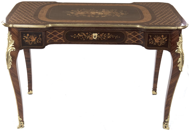 19th Century French Louis XV Style Marquetry Bureau Plat with Bronze Mounts