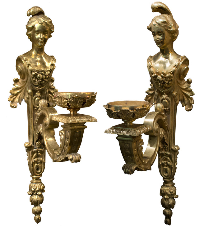 Pair of French Beaux Arts Ormolu Sconces