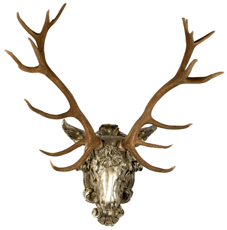 Nineteenth-century Red Deer Horns on Gilt Mount