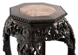 19th Century Chinese Carved Hardwood and Marble Stand