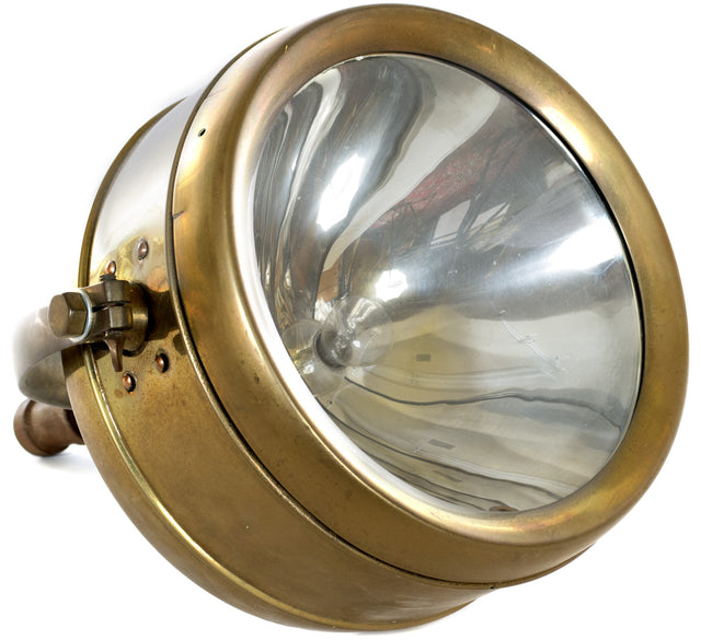 Large Brass Industrial Light
