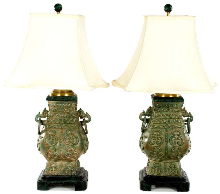 Pair of Table Lamps in the Shape of Chinese Temple Urns