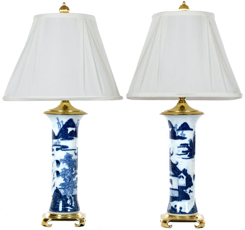 Pair of Chinese Blue and White Gu Vase Table Lamps
