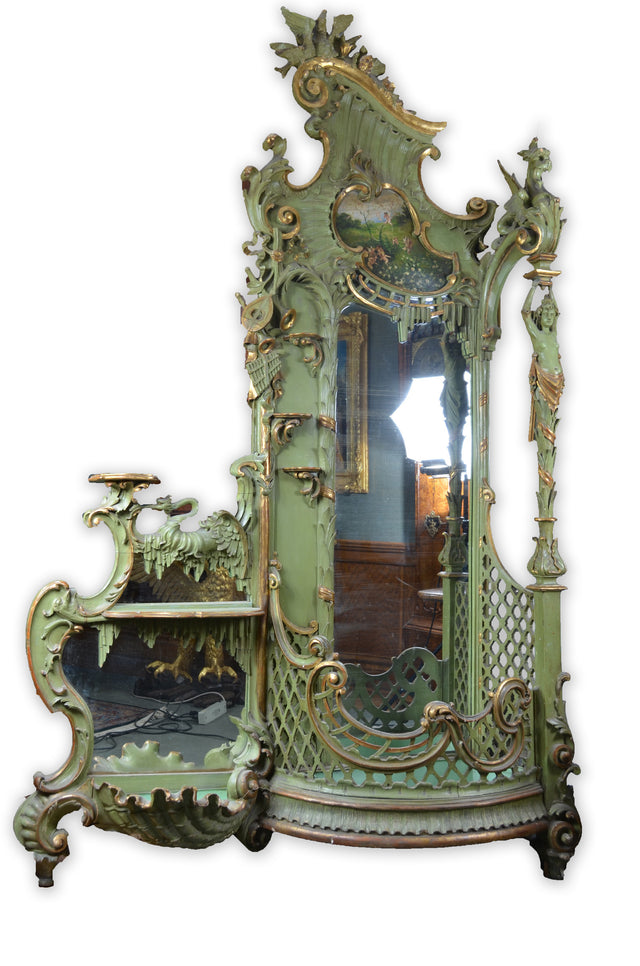 Large Gilt Art Nouveau Venetian Hall Tree with Mirror Stand