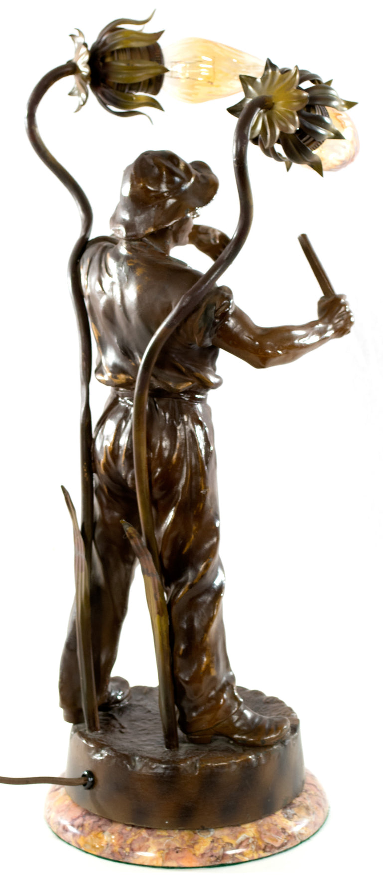 Table Lamp with Bronze Sculpture of a Breton Farmer