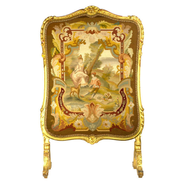 19th Century French Gilt Wood Petite-Point Tapestry Fire Screen