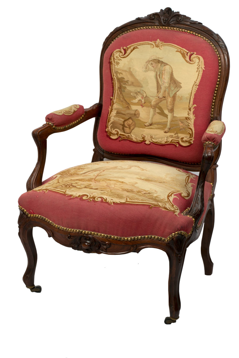 A Set of Rosewood Napoleon III Aubusson Salon Sofa and Chairs