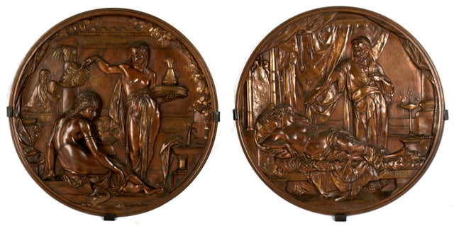 Pair of Medallions Of King David & Bathsheba And Othello & Desdemona by Émile-Louis Picault