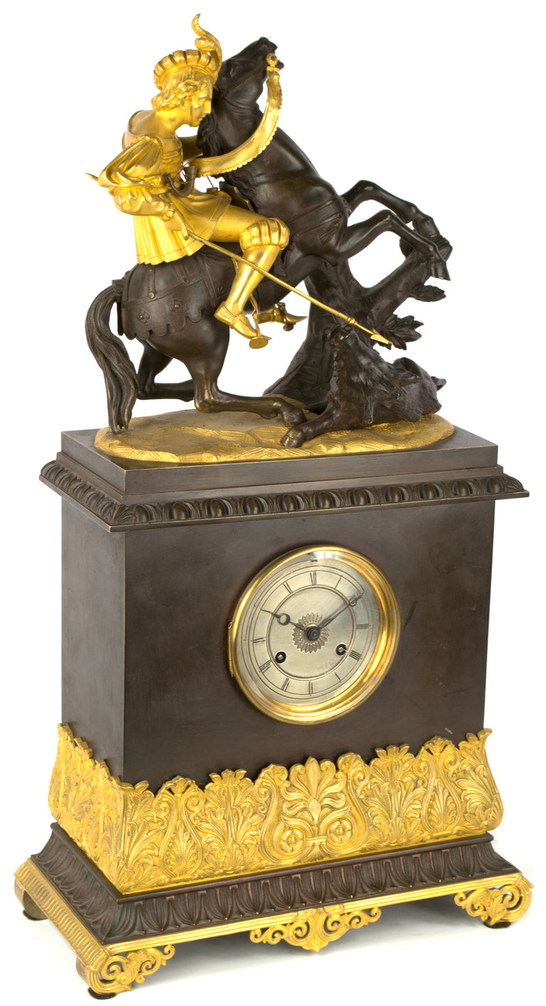 A French Empire Mantle Clock with Sculpture of Boar Hunt
