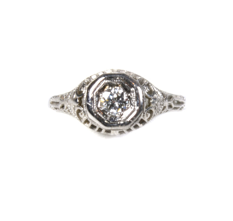 Art Deco 14 karat white gold diamond ring