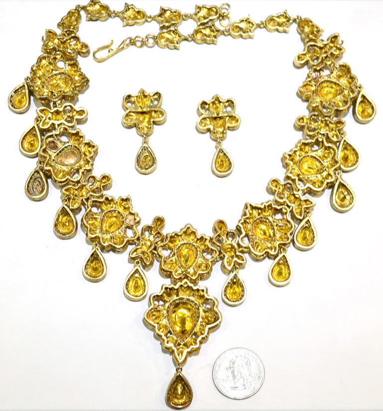 Indian Rajasthani Diamond Necklace and Earrings
