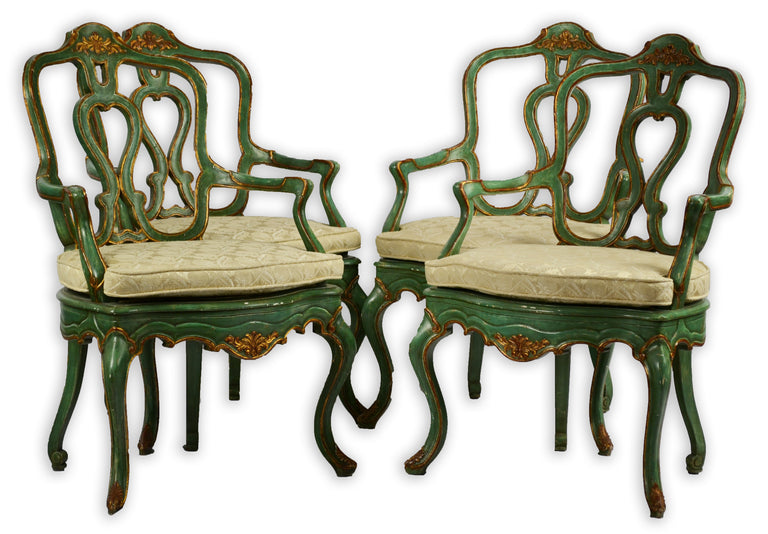 Set of Four Polychrome Venetian Arm Chairs