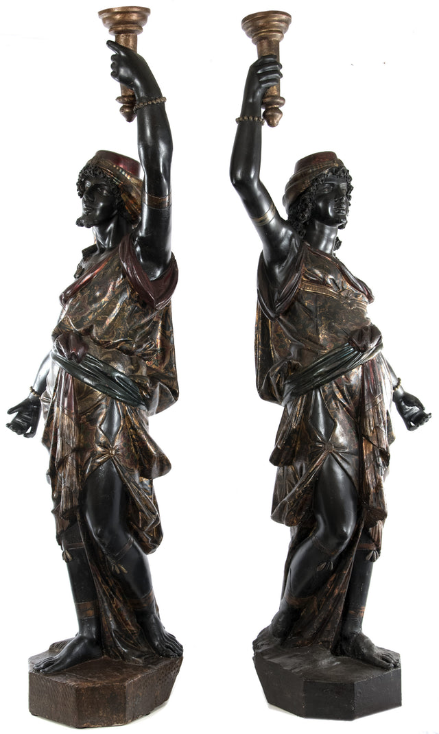 Pair of Venetian Blackamoor Floor Candle Holders