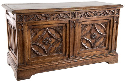 A French Oak Chest with Gothic Tracery