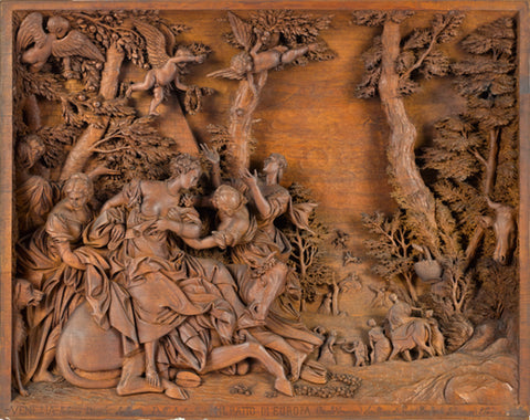 Virtuosic Full-relief Mahogany Sculpture of The Abduction of Europa