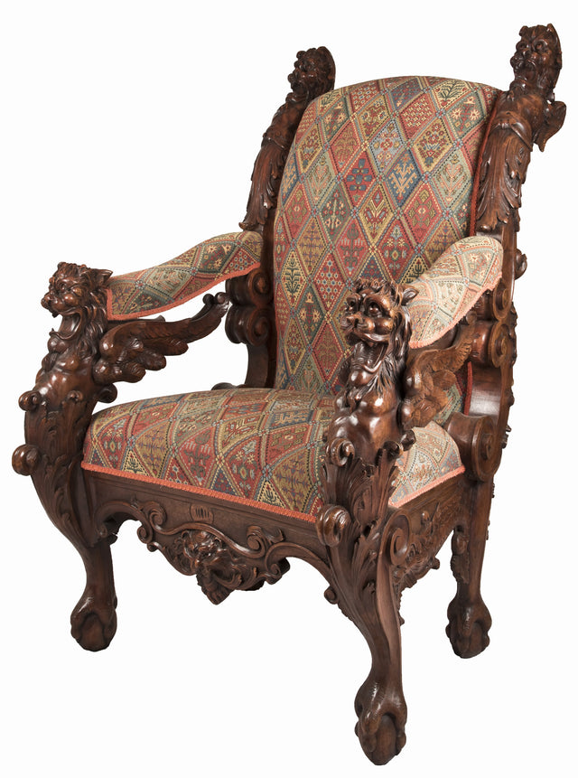 A 19th Century German Carved Mahogany Throne Chair