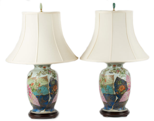 Pair of Chinese Tobacco Leaf Lamps