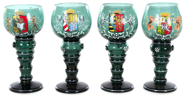 Set of Four Czech Glass Goblets with Coats of Arms