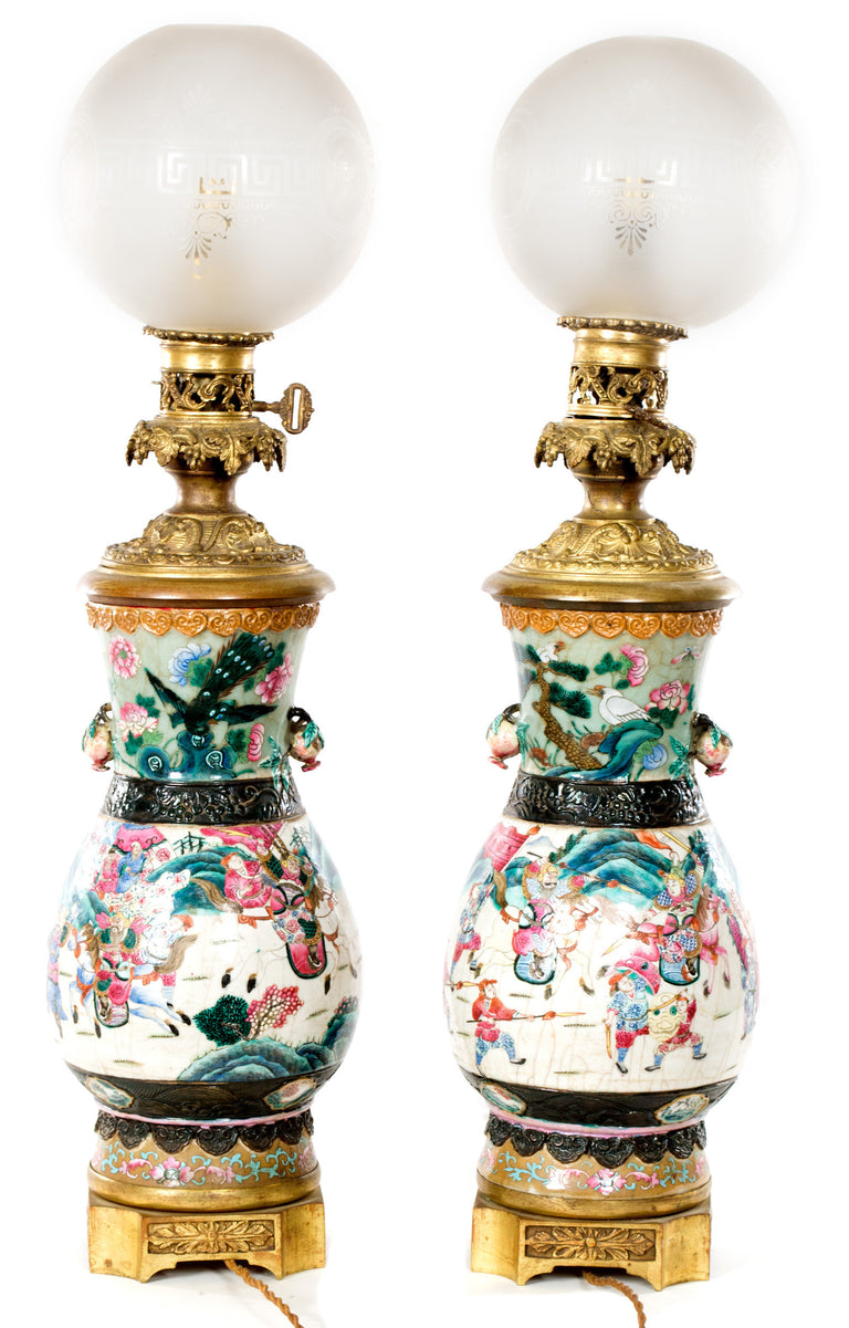Pair of Famille Rose Late 19th Century Chinese Porcelain Lamped Vases