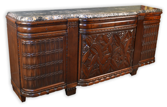 Parisian Carved Art Deco Buffet with Marble Top