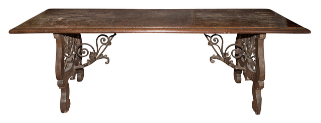 17th Century Italian Continental Walnut Trestle Table