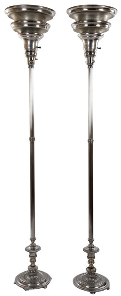 Pair of Neoclassical-style Chrome-plated Floor Lamps