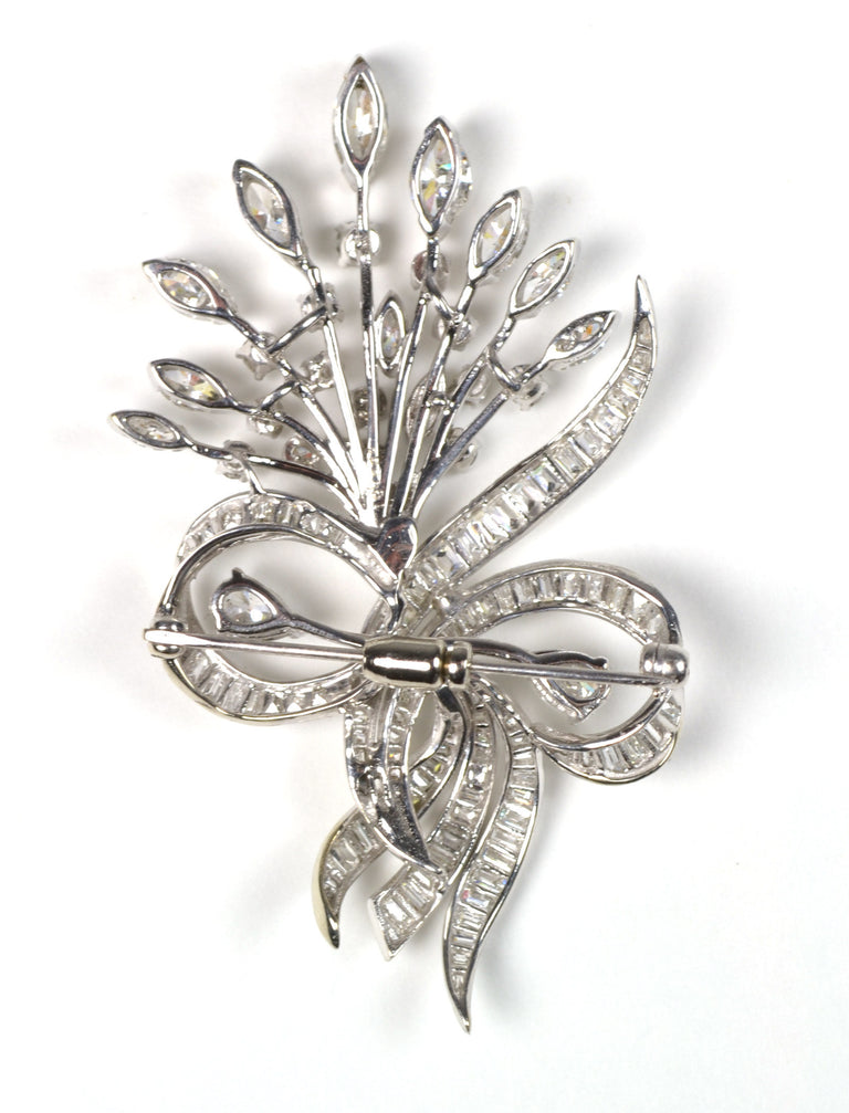 Diamond White Gold Floral Pin