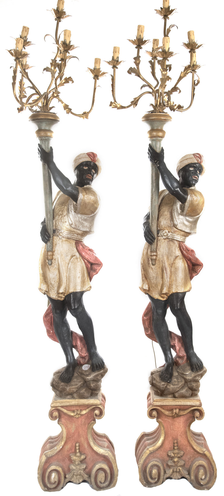 Pair of Venetian Polychrome Blackamoor Floor Torchieres