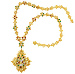 Gold, Diamond and Cabochon Colored Stone Pendant/Clip-Brooch Necklace/Bracelet Combination