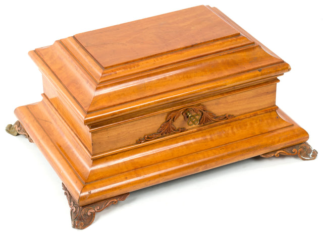 A large English Fruitwood Jewelry Box