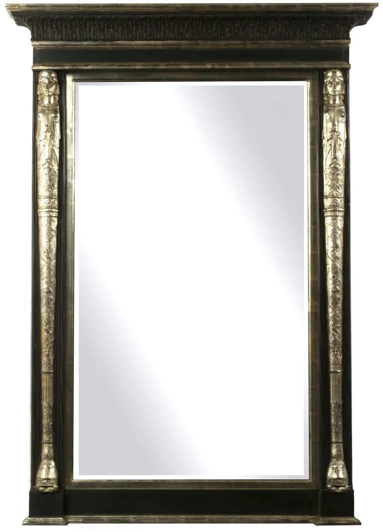 Large Ebonized & Silvered Tabernacle Framed Mirror
