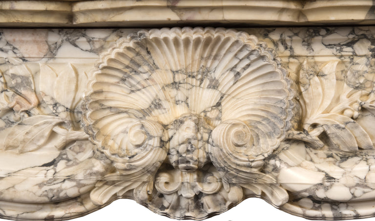French Régence-Style Fireplace Mantel in Carved Brèche Médicis Marble