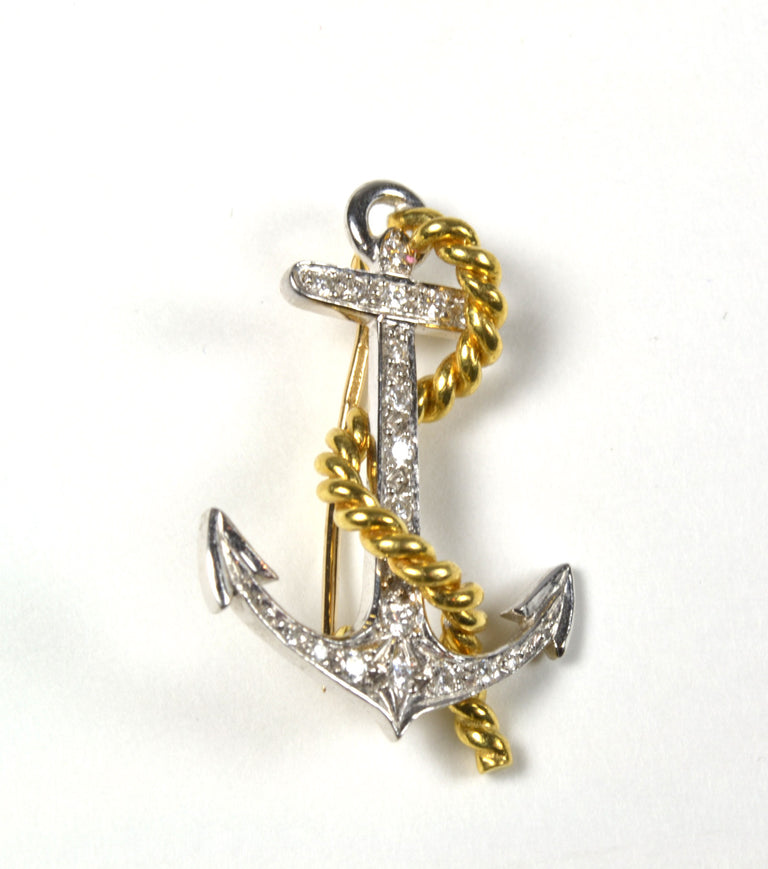 Wolf & Co. Diamond and Gold Anchor Brooch