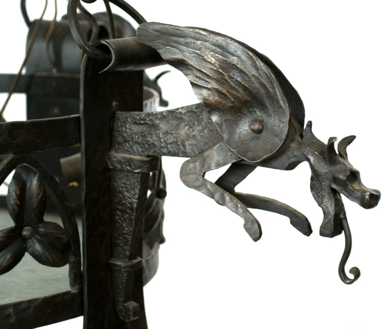 French Wrought Iron Arts & Crafts Chandelier with Dragons