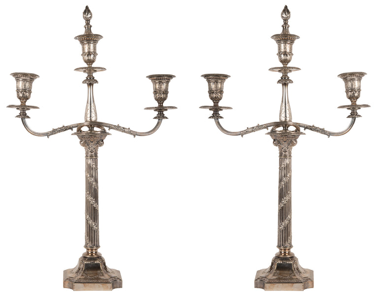 Pair of Neoclassical Silver-plate Candelabra