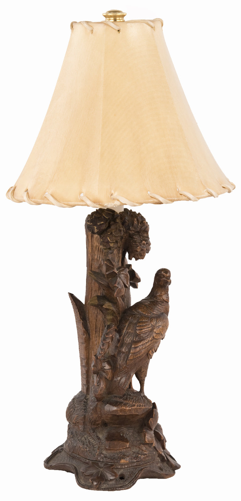 Pair of 19th Century Black Forest Carved Wood Pheasant Table Lamps