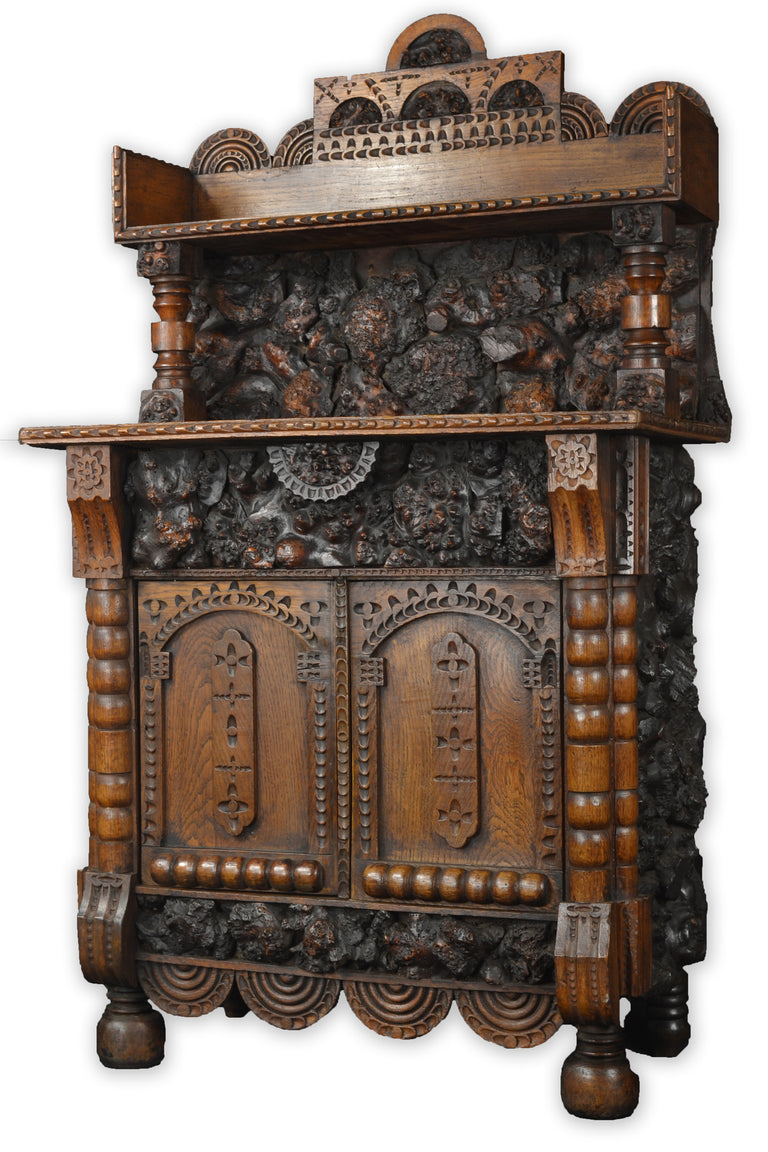Unusual Carved Black Forest Cabinet