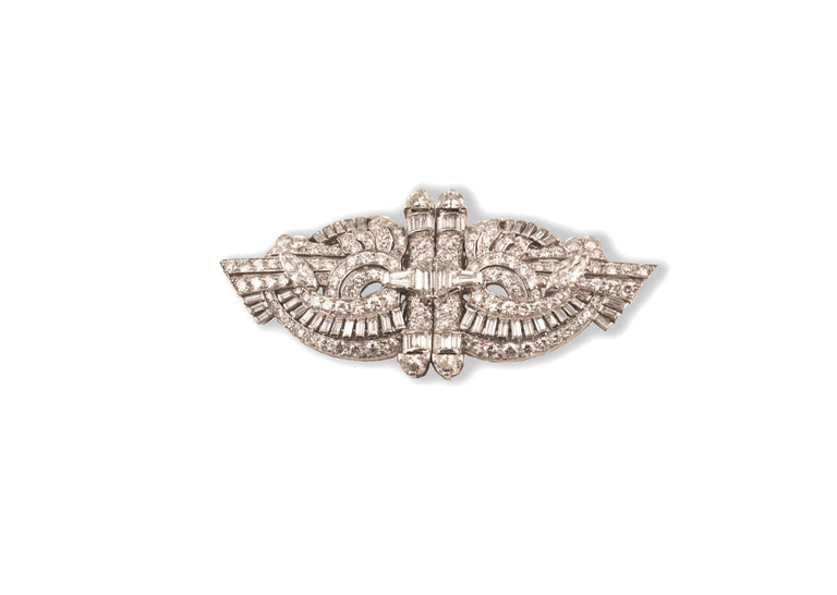 Ladies' Art Deco platinum diamond pin/lapel clips
