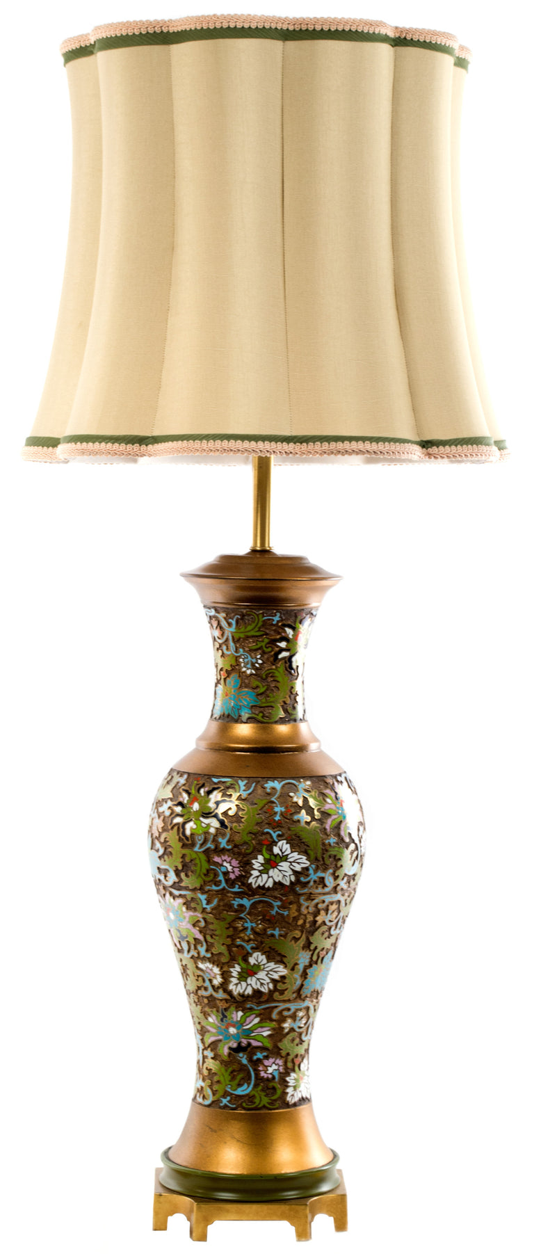 Mid Century Chinese Cloisonné Table Lamp