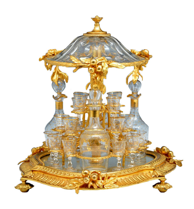 Mechanical Gilt Bronze & Crystal Tantalus