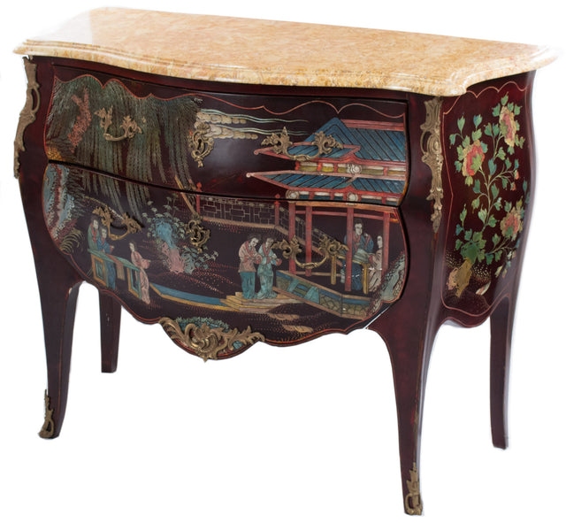 A Louis XV-Style Coromandel Commode with Marble Top