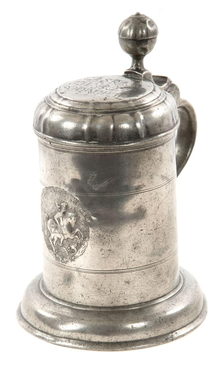 18th Century German Pewter Tankard with St. George Slaying the Dragon