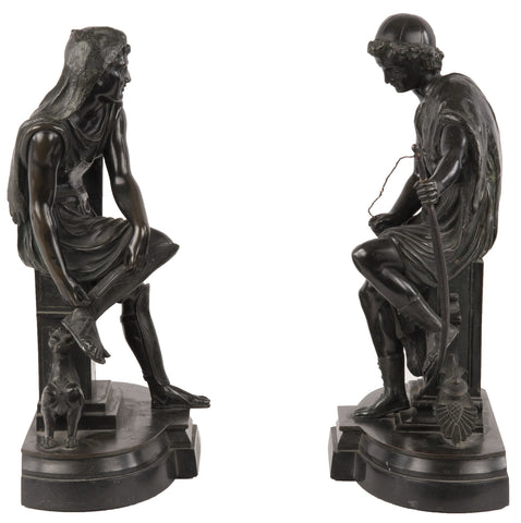 19th Century Bronze Bookends, Diomedes and Ulysses