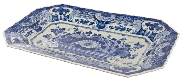 19th Century Rectangular Blue and White Delft Dish