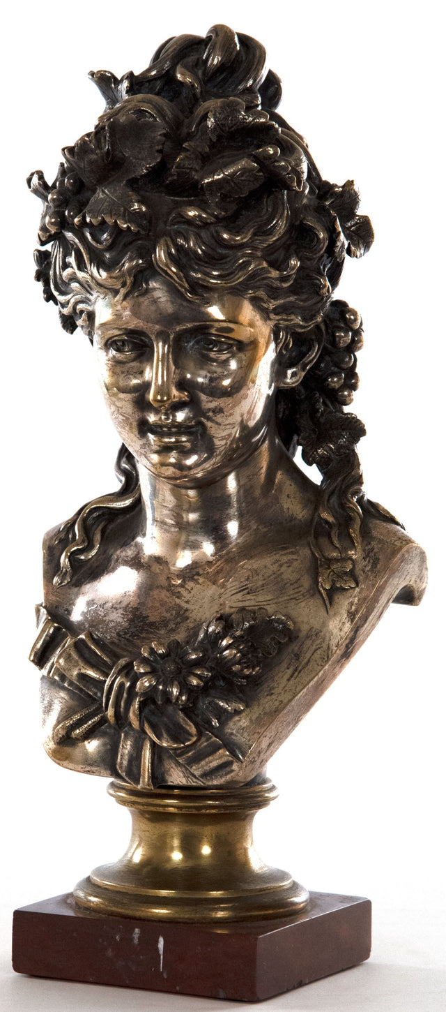 Silver-Gilt Bronze of a Woman by Jean-Louis Grégoire
